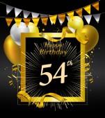 54  years anniversary Happy birthday  logo decorative background