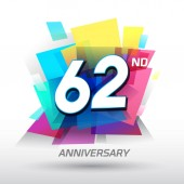 62  years colorful   anniversary logo decorative background