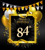 84  years anniversary Happy birthday  logo decorative background