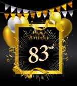 83  years anniversary Happy birthday  logo decorative background
