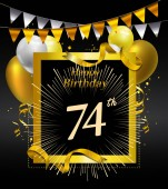 74  years anniversary Happy birthday  logo decorative background