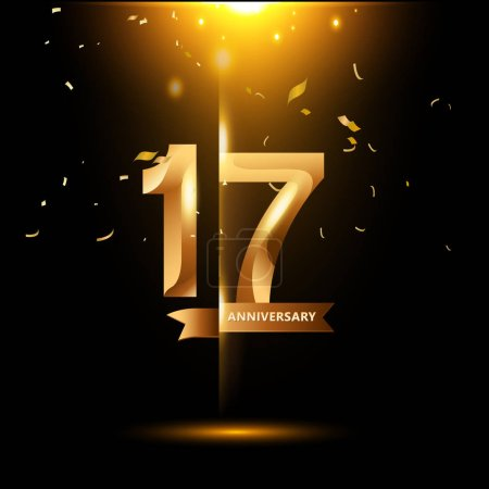 17  years gold  anniversary logo, decorative backg...