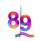 89  years colorful   anniversary logo decorative background
