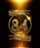 84  years golden  anniversary logo decorative background