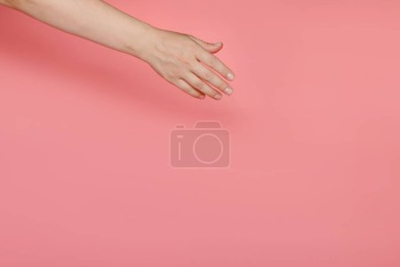 The female hand on a pink background stretches to something diagonally. Copy space.