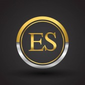 vector illustration of silver and golden letters es