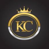 vector illustration of  golden letters kc