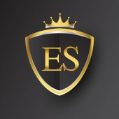 vector illustration of golden letters es