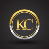 vector illustration of silver and golden letters kc