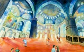 Istanbul, Turkey - August 5, 2017 : People are visiting The Blue Mosque. Landmark of world is tourist attraction in the Turkey.  Watercolor painting landscape, illustration