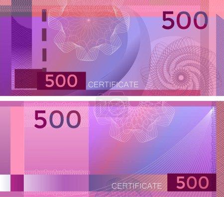 Illustration pour Modèle de billet 500 avec filigranes guilloché et bordure. Billet de fond violet, bon cadeau, coupon, diplôme, conception de l'argent, monnaie, billet, chèque, chèque, récompense. certificat - image libre de droit