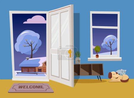 Ouvrez la porte blanche dans le paysage de soirée d'hiver vue nuageuse avec des arbres enneigés et la maison.Tapis de porte, table avec étagères, chat et chien endormis dans la chambre bleue avec flore jaune. Illustration vectorielle dessin animé plat