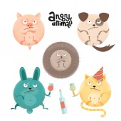 Set of angry roung anilams and pets Flat cartoon style illustration with textures of pig dog hedgehog rabbit cat with wineglasses and bottle Collection with lettering quote