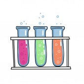 Colored liquids in tree test tubes in rack vector outlined sketch icon isolated on white background Hand drawn glass bulb with bubbles Tubes Doodle sketch illustrationGlass bottles with color water