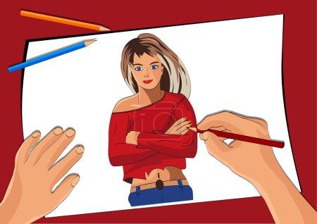 Illustration pour La fille dans le rouge, gèle - image libre de droit