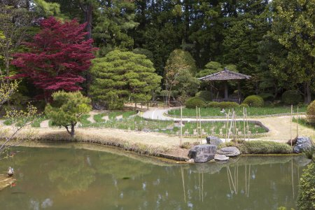Sendai, Japan, 04/29/2017, Garden in Rinnoji temple. Buddhist temple with a beautiful garden and pagoda.