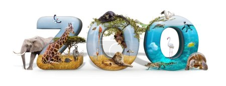 Zoo word in 3D with African nature wildlife animals and aquarium conceptual scene