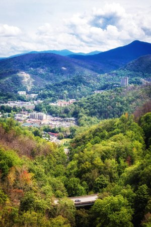 Overhead scenic view of the Great Smoky Mountains National Park and Gatlinburg Tennessee, USA