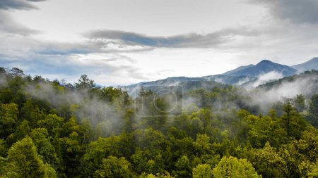 Scenic landscape view of the Great Smoky Mountains National Park from Gatlinburg, Tennessee, USA.