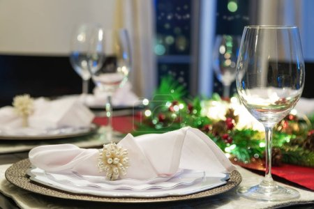 Photo for Beautiful holiday dinner table setting. Closeup - Royalty Free Image