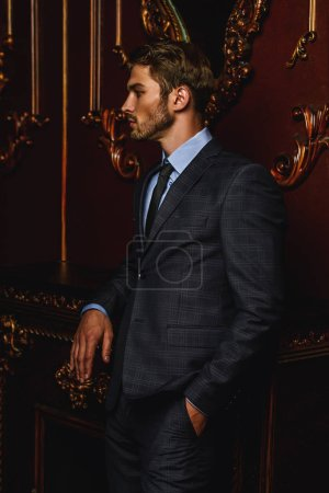 Imposing well dressed man in a luxurious apartment...