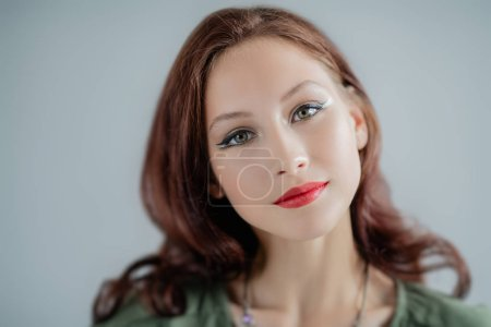 Photo for A close up portrait of a beautiful young woman. Beauty, cosmetics, skincare. - Royalty Free Image