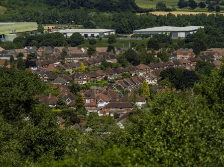 view over English suburbs with trees