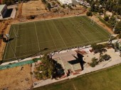 Rugby field match with drone view