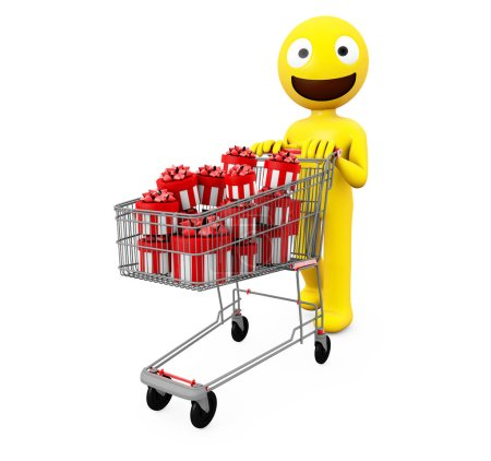 yellow character isolated 3d rendering with shopping cart