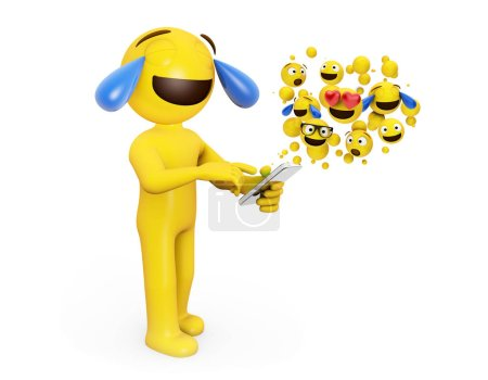 emoji head character touching smartphone and laughing 3d rendering