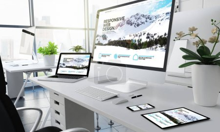 office responsive devices 3d rendering