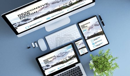 Photo for Blue devices top view responsive website 3d rendering. - Royalty Free Image