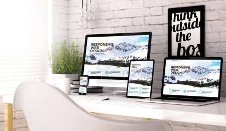 Photo for 3d rendering of devices collection at workspace with responsive website on screen. All screen graphics are made up. - Royalty Free Image