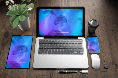 Photo pour Rendu 3D des appareils sur le site Web réactif parquet montrant méduse - image libre de droit