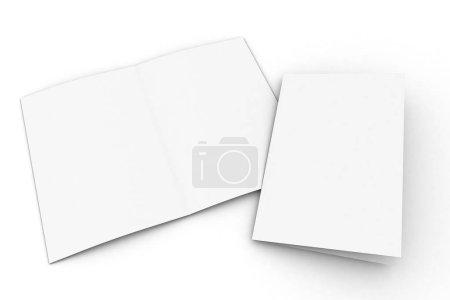 half-fold brochure mockup 3d rendering