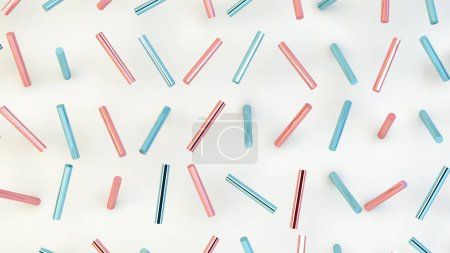 pink and blue cylinders 3d rendering