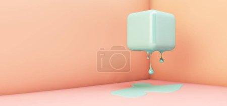 melting cube in corner 3d rendering