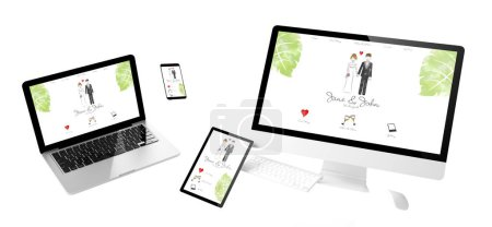 flying devices with wedding website responsive design 3d rendering