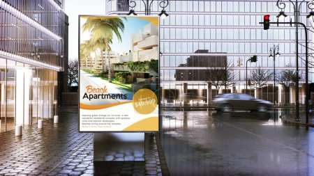 real estate advertising billboard mockup on city downtown. 3d Rendering.