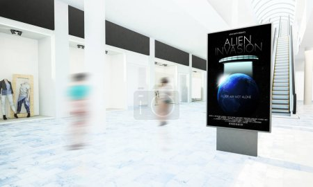 Photo for Movie poster advertising on shopping mall 3d rendering - Royalty Free Image