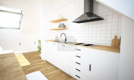 Photo pour Cuisine minimale sur la vue arrière du grenier rendu 3D - image libre de droit