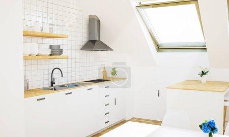 Photo pour Minimum cuisine blanche sur grenier rendu 3D - image libre de droit