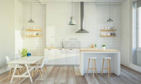 Photo pour Intérieur de cuisine élégant avec îlot de cuisson et table - image libre de droit