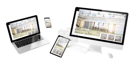 Photo pour Appareils volants avec design d'intérieur site web design réactif rendu 3d - image libre de droit