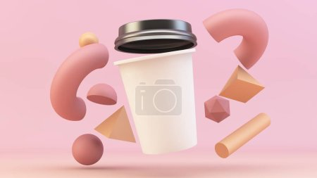 floating coffee cup mockup 3d rendering with abstract background