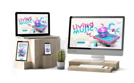 Photo pour Rendu 3d de dispositifs isolés sur des cubes en bois montrant site Web sensible à la musique - image libre de droit