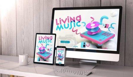 Photo pour Numérique générée périphériques sur la conception de sites Web de musique cool desktop, sensible à l'écran. Tous les graphiques sont constitués. rendu 3D. - image libre de droit