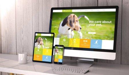 Photo pour Appareils numériques générés sur le bureau, conception sensible de site Web pour animaux de compagnie à l'écran. Tous les graphiques d'écran sont constitués. Rendu 3d . - image libre de droit