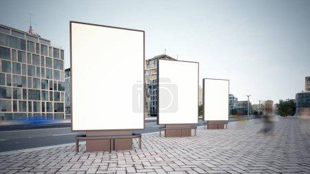 Photo pour Trois panneau d'affichage maquette à la ville de la rue 3d rendu - image libre de droit