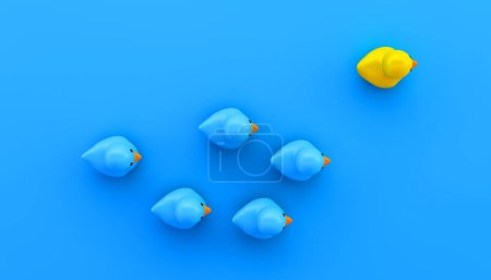 competition concept with blue and yellow rubber ducks 3d rendering